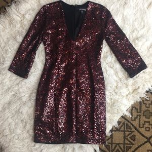 EXPRESS red and black sequin mini dress